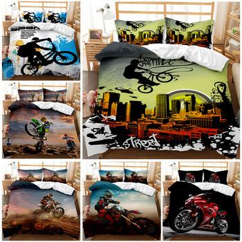 Komplety pościeli motocyklowej podwójny rozmiar luksusowy zestaw poszewek dla dzieci z poszewką Motocross zestawy pościeli pocieszyciel tanie i dobre opinie Poliester Zestawy Kołdrę CN (pochodzenie) Tkanina z mikrofibry 1 0 m (3 3 stóp) 1 2 m (4 stóp) 1 35 m (4 5 stóp) 1 5 m (5 stóp)
