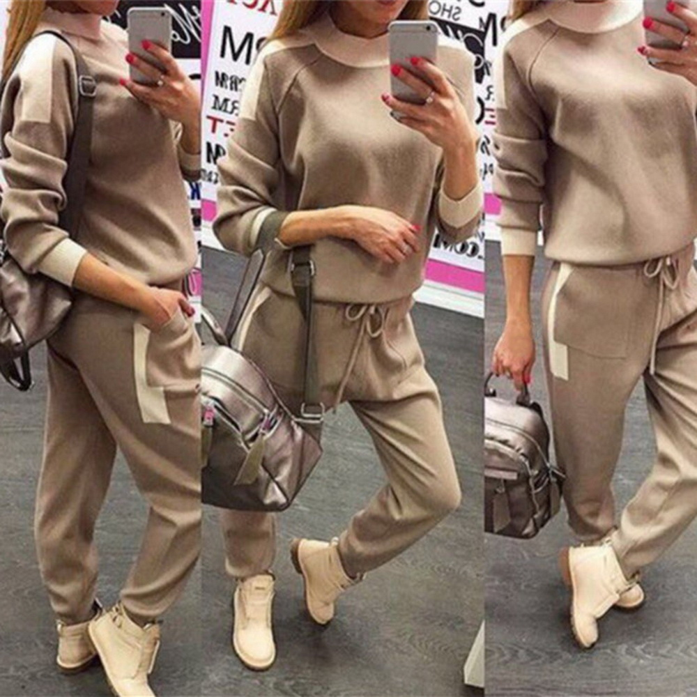 WENYUJH Woman Sweater Suits Knit Casual Tracksuits Crewneck Pullovers+Drawstrings Elastic Pants Two Piece Sets Female Outfits