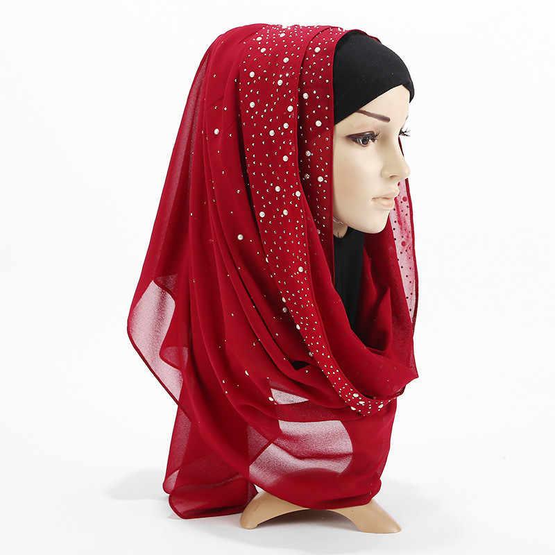 2019 מכירה לוהטת נשים רגיל בועת פרל שיפון צעיף ראש חיג 'אב לעטוף מוצק צעיפי סרט צעיף femme המוסלמי hijabs חנויות