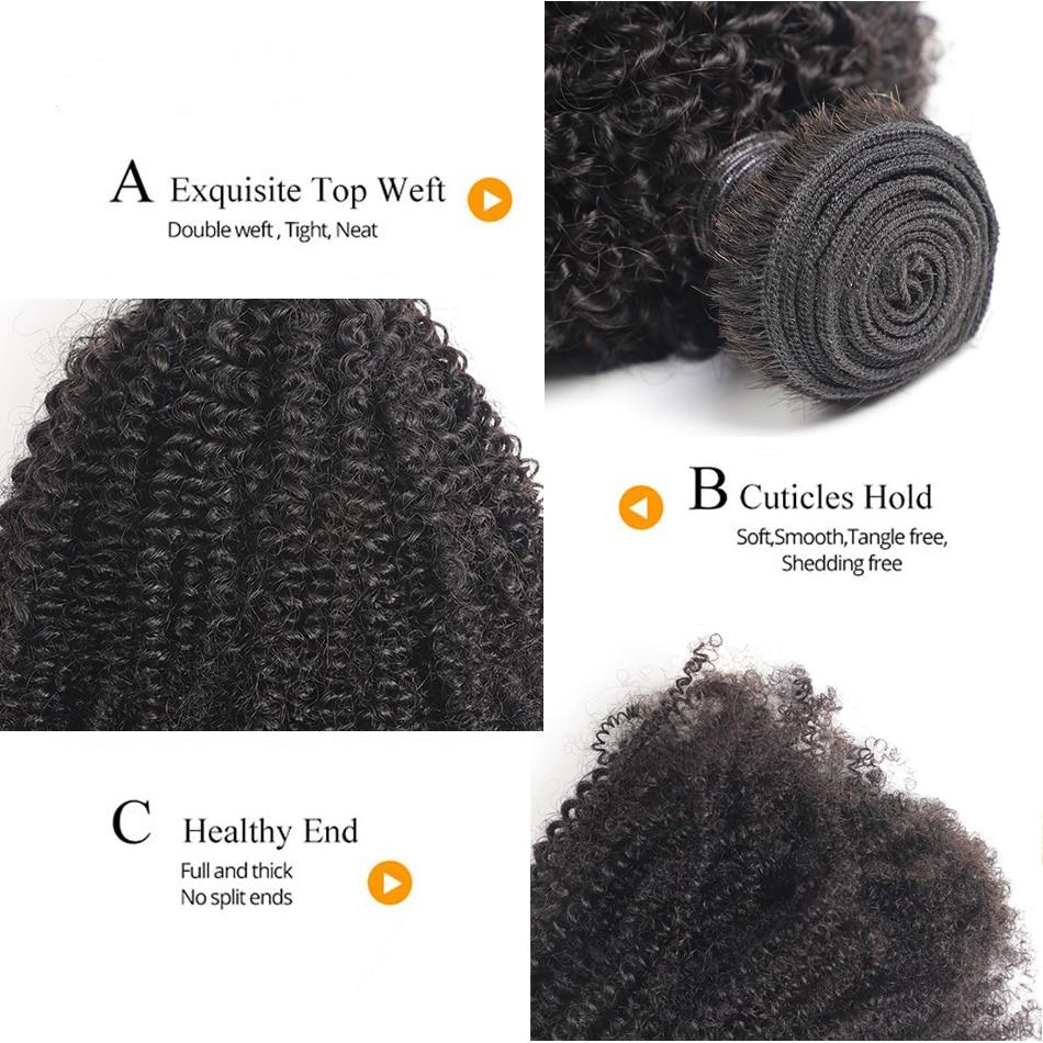 Cheveux brésiliens armure paquets Afro crépus bouclés cheveux paquets 100% vrais cheveux humains paquets 8 30 pouces 4 paquets Remy Extension de cheveux L - 6