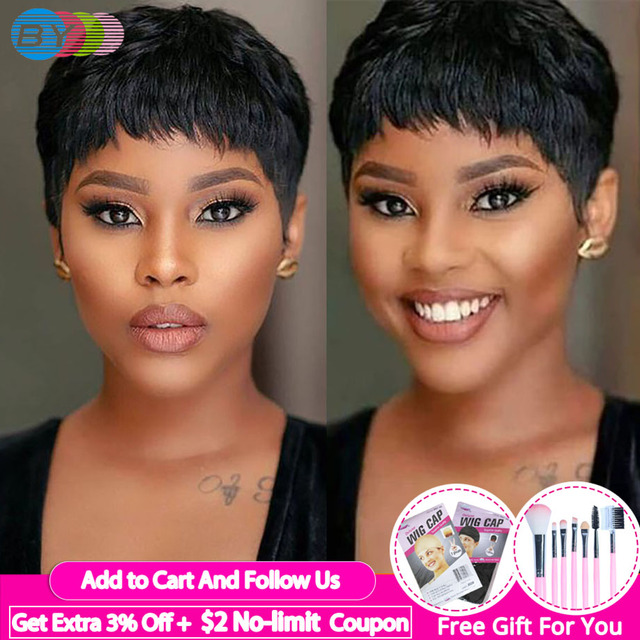 $ US $33.50 Pixie Cut Wig Natural Curls Short Wigs Human Hair Wigs For Black Women Brazilian Wig Natural Color 130% Density BY Hair
