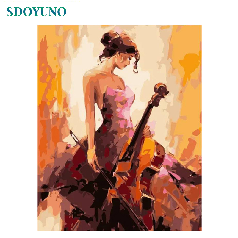 SDOYUNO Frameless Painting By Numbers On Canvas 60X75cm Drawing By Number DIY Canvas Painting Kits Guitar Girl Home Decor