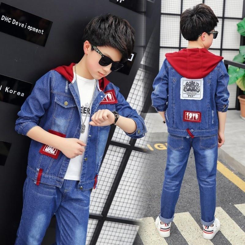 New 2pcs Denim Boys Outerwear & Boys Jeans Clothing Set Boy Hooded Jacket Pants for 8 10 12 14 Years 2019 Kids Clothes Boys