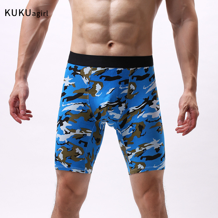 Sports Men's Camouflage Extended Underwear Men's Camouflage Briefs Cotton Mid-pants Printed Breathable Sports Men's Long Panties