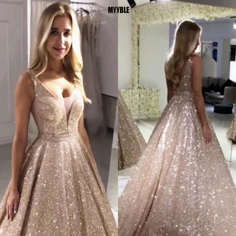 Gorgeous Rose Gold Sequined Prom Dresses 2020 Sparkle Sequin Ball Gown Evening Dress Backless Abiye Party Dress Robe De Soiree