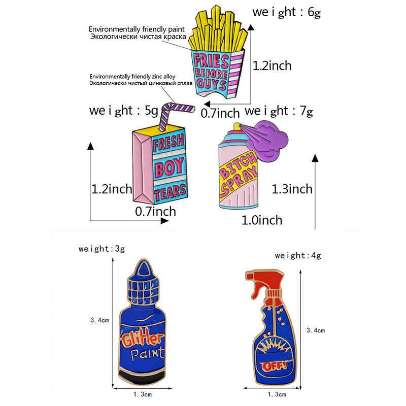 Del fumetto Detergente Spray Risvolto Spilli Bullshit Remover Spille Distintivi e Simboli Zaino Accessori Smalto Spilli Dei Monili di Regalo Per Gli Amici