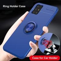 Para Samsung Galaxy A12 A52 A51 A71 A70 A50 A40 A20 A30 5G S20 FE M51 M31 M30 caso imán del coche caso titular de anillo de dedo cubierta mate