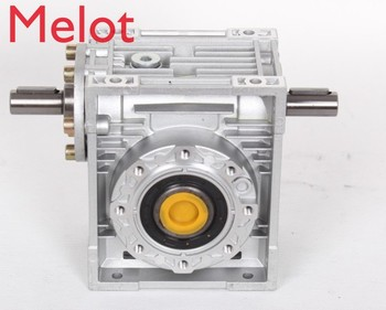 round flange planetary gear reducer 12 arcmin ratio 15 1 to 100 1 for nema34 750w ac servo motor input shaft 16mm Worm Reducer NRV050-VS Double Extension Shaft 14mm input shaft 5:1 - 100 :1 Gear Ratio 90 Degree Speed Reducer