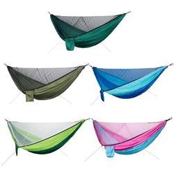 ポータブルバックパッキングハンモックアウトドアサバイバルハンティングキャンプ自動クイックオープニング睡眠ベッドハンモックとストラップ