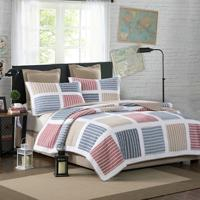 Colorful Striped Quilt Bedding Set,3Pcs Real Hand Patchwork 100% Cotton Reversible Bedspread Bed cover Pillow shams Ultra Soft