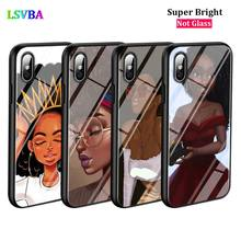 Black Cover Cute Girl Cartoon for iPhone X XR XS Max for iPhone 8 7 6 6S Plus 5S 5 SE Super Bright Glossy Phone Case black cover japanese samurai for iphone x xr xs max for iphone 8 7 6 6s plus 5s 5 se super bright glossy phone case
