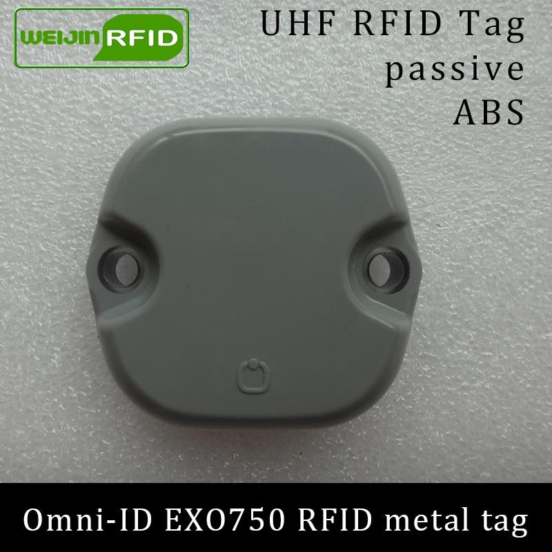 UHF RFID ლითონის წარწერა omni-ID EXO 750 EXO750 915mhz 868mhz Impinj Monza4QT EPCC1G2 6C გამძლე ABS სმარტ ბარათის პასიური RFID ტეგები