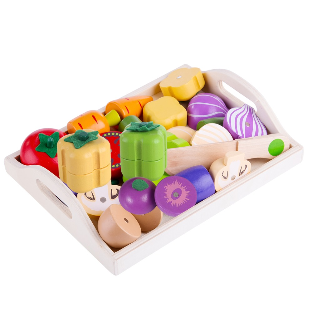 Magnetic Wooden Fruit And Vegetable Combination Cutting Kitchen Toy Set Children Play & Pretend Simulation Playset Kids Fun