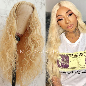 Maycaur Blonde Long Curly Lace Wigs Glueless Synthetic Front for Black Women #613 Color Heat Resistant Soft Fiber - discount item  42% OFF Synthetic Hair