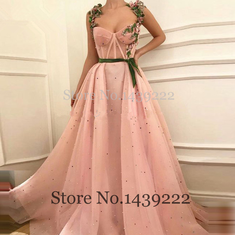 Pink Prom Flowers Evening Dress Sweetheart Straps Tulle Celebrity Women Formal Dresses Robe De Soiree Evening Party Gown