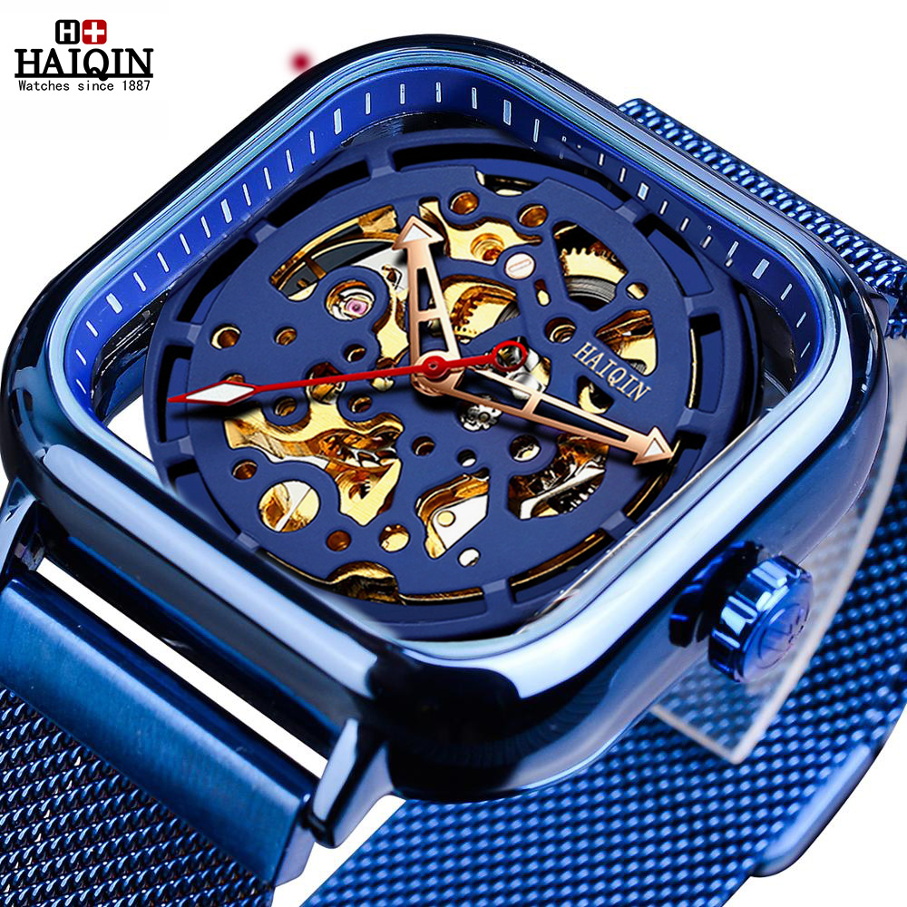 HAIQIN 2019 New Men's Mechanical <font><b>Watches</b></font> for Mens Skeleton Automatic <font><b>watch</b></font> men fashion Wristwatch Mens Clock Relogio Masculino image