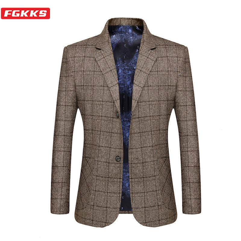 FGKKS Brand Men Blazers Lined Print Men's Business Casual High Quality Wild Suit Fashion Slim Fit Lattice Blazers Coat Male
