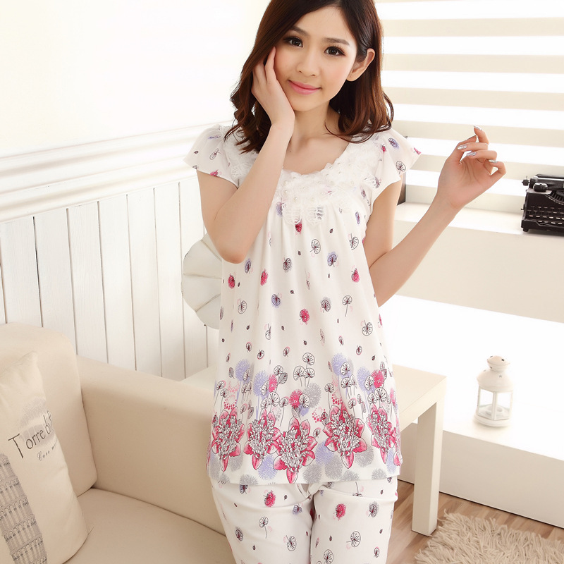 Spring Summer WOMEN'S Pajamas Women's Pure Cotton Capris Set Summer Pullover Half Sleeve Middle-aged Mom Thin Home Wear
