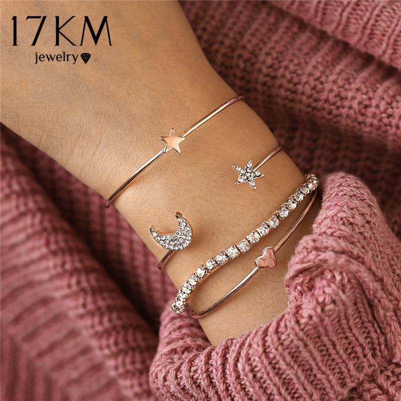 2019 Bohemian Star Moon Open Bracelet For Women 4Pcs New Charm Bracelets & Bangles Set Mujer Bijoux Femme Jewelry Christmas Gift