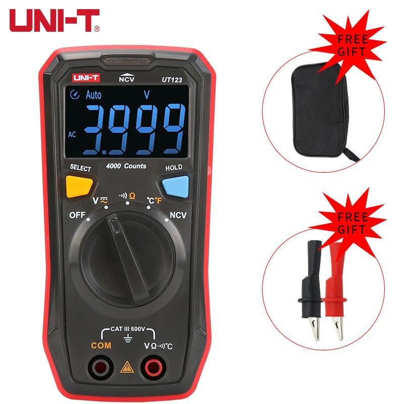 UNI-T UT123 мини цифровой мультиметр гарантировано AC DC Напряжение сопротивление Температура электрические бесконтактная проверка напряжения п...