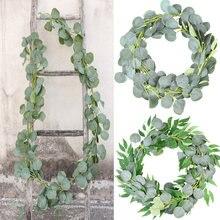 Guirlande de plantes d'eucalyptus artificielles, fleurs de glycine, vigne en soie, feuille de rotin, décoration murale suspendue pour mariage, fournitures de fête