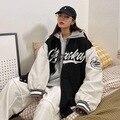 Высококачественные бейсбольные куртки для женщин, новинка, свободное тонкое пальто с надписью, одежда для пар в стиле ретро, куртка оверсай...