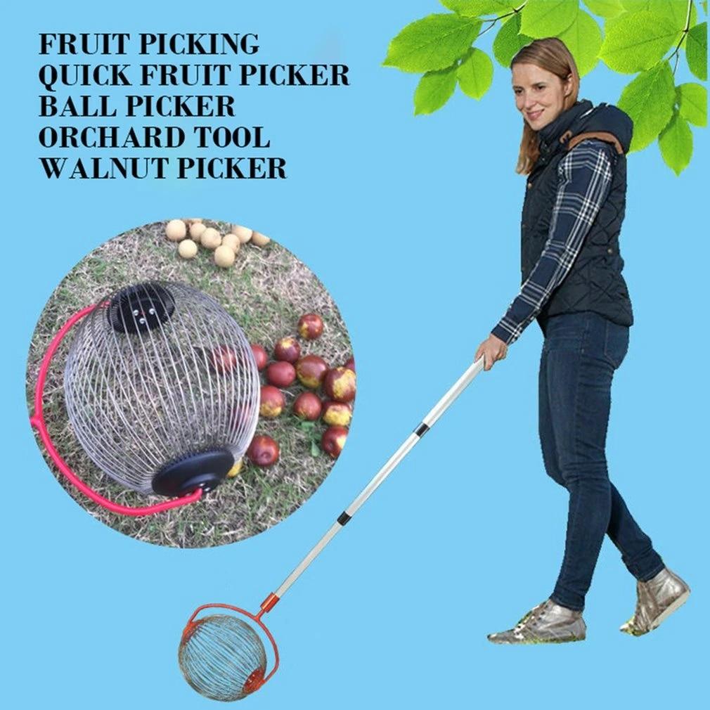Fruit Picker Roller Harvester Aluminum Alloy Garden Retractable Nut Collector