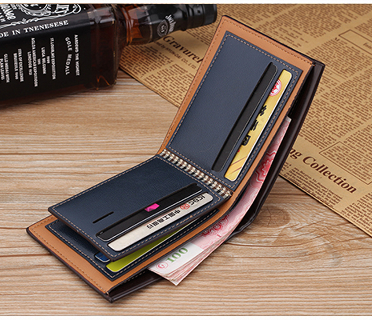H4087fa990af44260a54518aef44ab8ceh - NO.ONEPAUL Genuine Leater men short wallet business retro cross section embossed Credit card holder fashiong wallets men purses