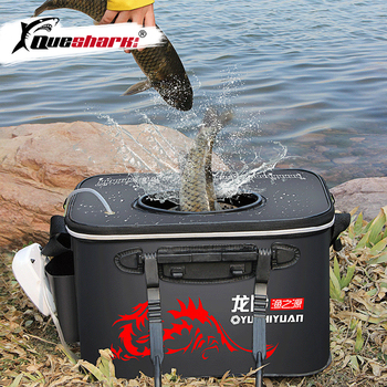 Handle Folding Fishing Bucket EVA Fishbox Outdoor Water Box Packing Live Fish Bucket Thickened Fishing Tank Fishing Gear Bag fishing box eva customization easy to clean box customized baiting bucket thickening fishing bucket waterproof case