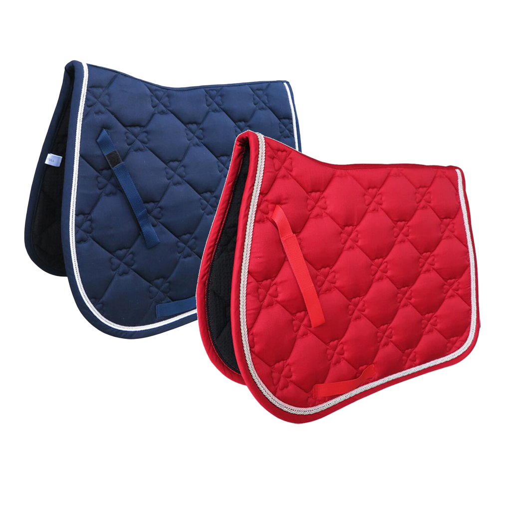 Square Quilted Cotton Comfort English Saddle Pad Horse Riding Pad Shock Absorb