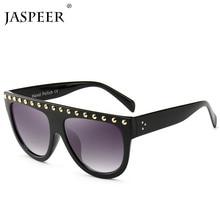JASPEER Square Sunglasses Oversized Frame Mirror Shades Rivet Retro Men Women 2019 Flat Top UV400 Eyewear