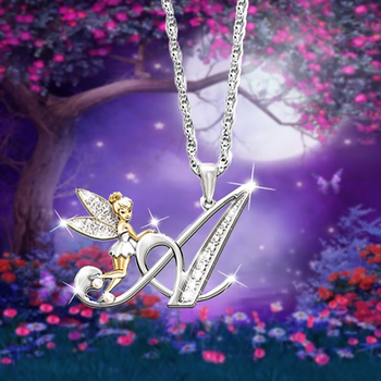 Lovely Crystal 26 letters Flower Fairy Necklaces For Women Girls Sparkling Rhinestone Fay Wing Pendant Necklace Jewelry 1