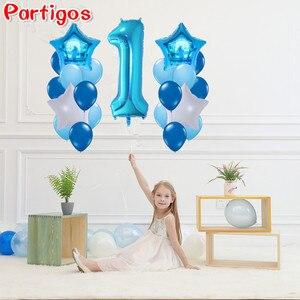 40 pulgadas número 1 globos de papel de aluminio Baby Shower 1er cumpleaños adornos fiestas Baby boy Girl bolas 2,2g globos de helio de látex