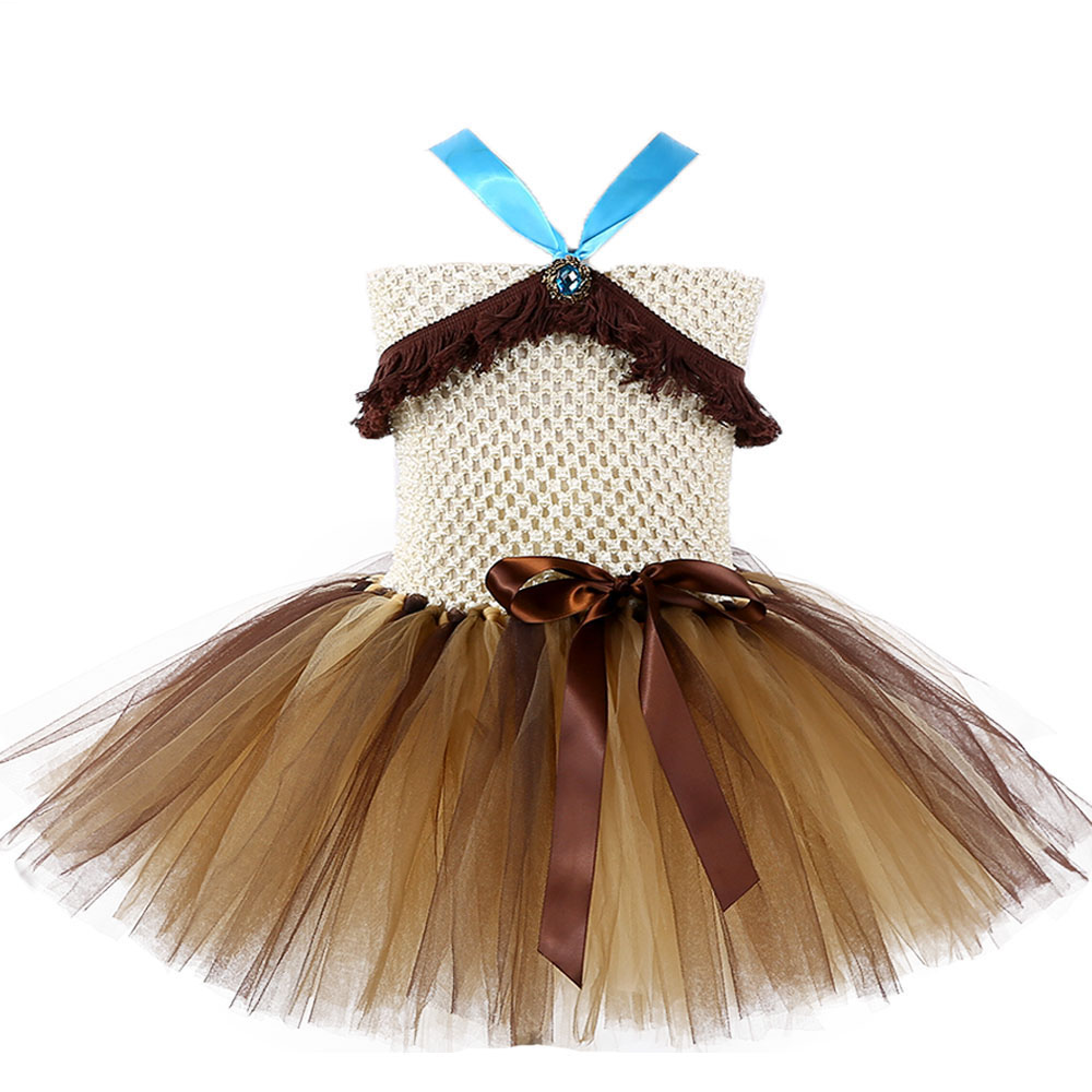 Brave Princess Pocahontas Cosplay Tutu Dress Brown Color Girl Tassel Fluffy Birthday Party Dresses Girls Costume For Halloween