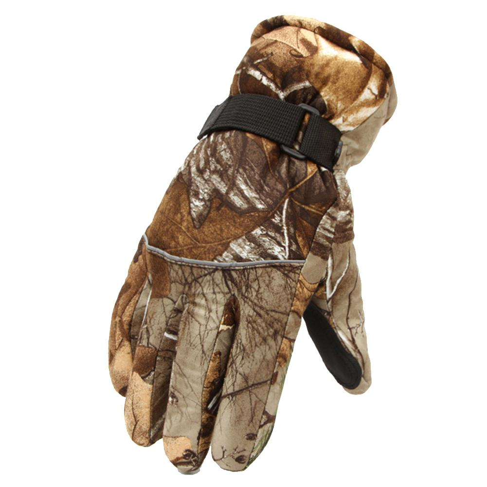 Men Camouflage Print Skiing Gloves Thickened Fleeced Windproof Anti-skid Anti-cold Motorcycle Snowboard Ski Warm Gloves Mitts