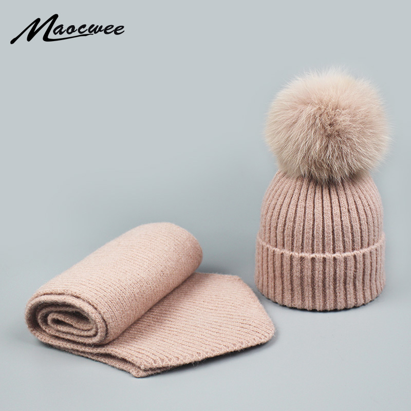 Winter Parent-child Real Fur Pompon Hat And Scarf Set Women Thick Crochet Knitted Wool Beanies Caps Hat With Natural Fur Pom Pom
