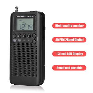 Outdoor Portable AM/FM Stereo Radio HRD-104 Pocket 2-Band Digital Tuning Radio Mini Receiver Outdoor Radio with Earphone Lanyard