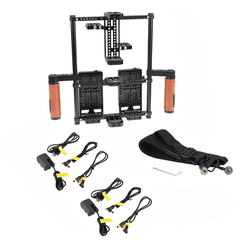 CAMVATE 2-in-1 Directors Monitor Cage Rig With Double Power Supply Splitters & Leather-covered Hand Grips (For 5 & 7 Monitors