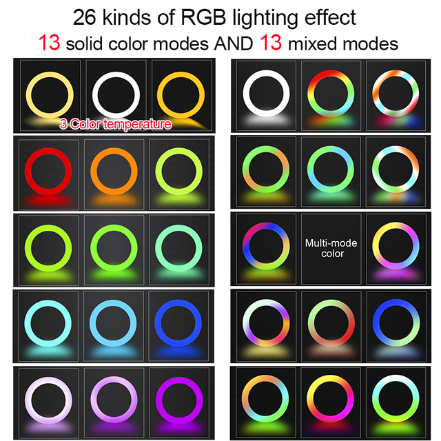 Orsda 10-13 Inch RGB Ring Light Tripod LED Ring Light Selfie Ring Light with Stand RGB 26 Colors Video Light For Youtube Tik Tok 2