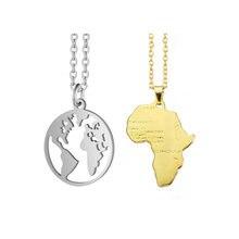Collier à pendentif géométrique pour femmes, bijoux Origami, carte du monde, afrique, tendance