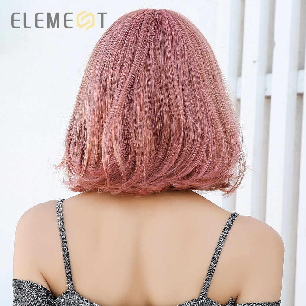 Pelucas cortas sedosas rectas de color rosa sintético con flequillo resistentes al calor para Cosplay de Lolita para mujeres blancas/negras