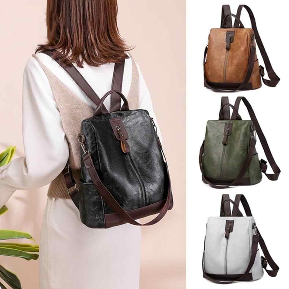 حقيبة ظهر نسائية من الجلد عالية الجودة متعددة الوظائف حقيبة ظهر من الجلد للإناث حقيبة كتب كبيرة حقيبة سفر كيس دوس