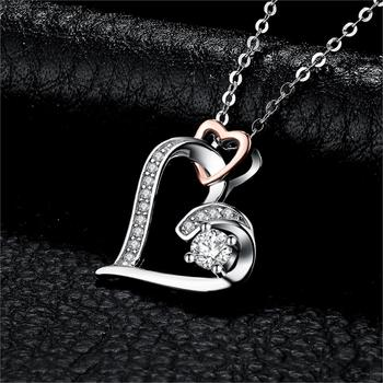 Infinity Heart Pendant Sterling Silver Statement Necklace  1