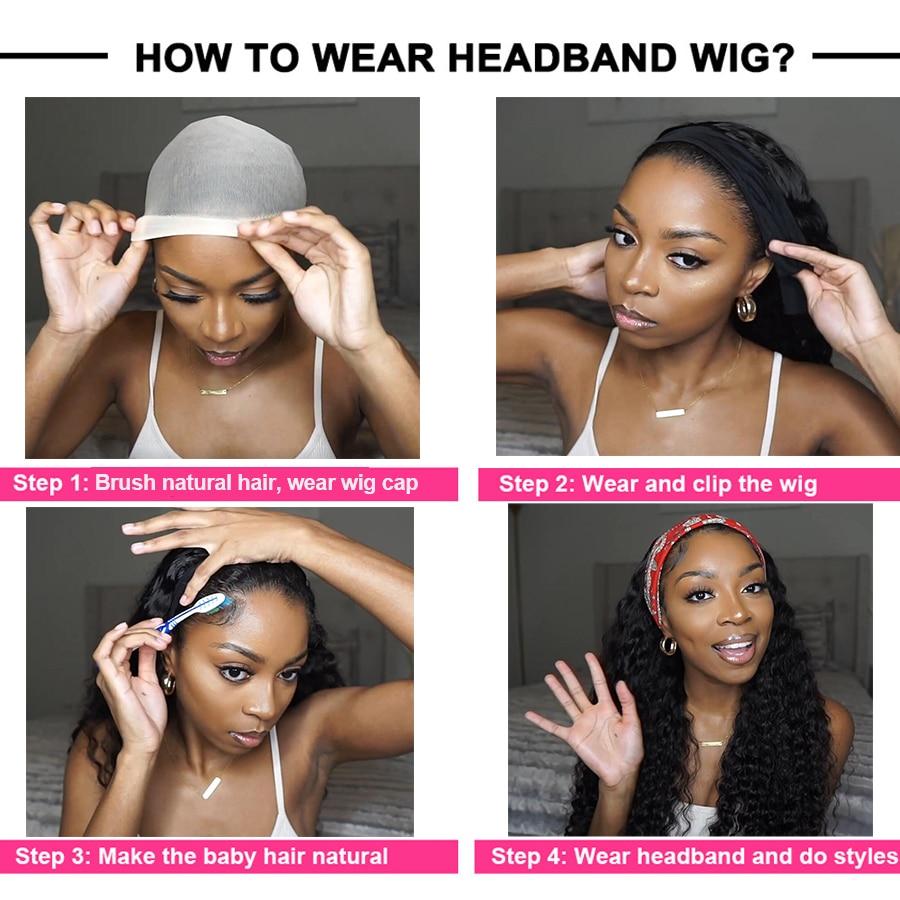 Headband Wig  Deep Wave Afro  Full Machine Made Curly Headband Wig  Water Wave  Wigs 4