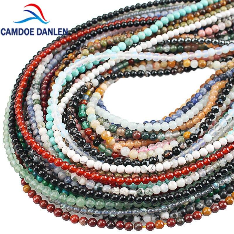 Natural Stone Agates Amazonite Garnet Turquoises Lapis Lazuli Round Loose Beads For Jewelry Making DIY Bracelet Necklace 2mm 3mm