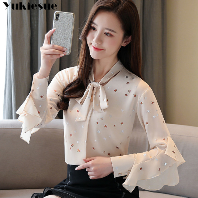 Plus size womens tops and blouses Summer women blouses 2020 white blouse long sleeve star print chiffon blouse women shirt top 3