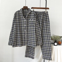 New Plaid Lapel Knitted Pajama Suit Long Sleeve Cotton Plus Size Sleepwear Christmas Pajamas Adult Autumn Pijama for Women
