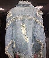 Heavy Industry Tassel Rhinestone Denim Jacket Woman High Quality Diamond Clothing Trill Ins Village Hole Jean Jacket Coat Lady's