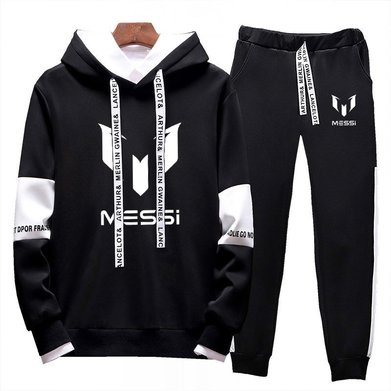 New 2019 Tracksuit Fashion Messi Barcelona Men Sportswear Two Piece Sets Cotton Fleece Thick Hoodie+Pants Sporting Suit Male