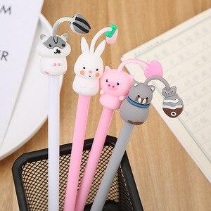 Image 2 - 40 adet/grup Hamster tavşan domuz kedi jel kalem sevimli ofis kırtasiye okul su jeli mürekkep kalem siyah mürekkep imza kalem escolar